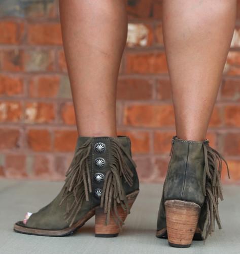 Liberty Black Military Green Concho Fringe Peep Toe Boots LB712807 Heel