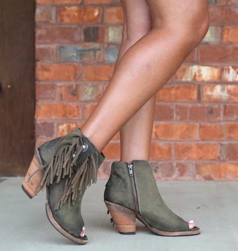 Liberty Black Military Green Concho Fringe Peep Toe Boots LB712807 Image
