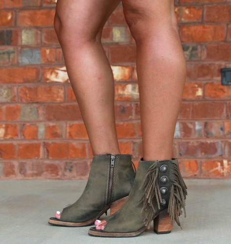 Liberty Black Military Green Concho Fringe Peep Toe Boots LB712807 Photo