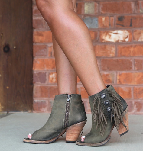 Liberty Black Military Green Concho Fringe Peep Toe Boots LB712807 Picture