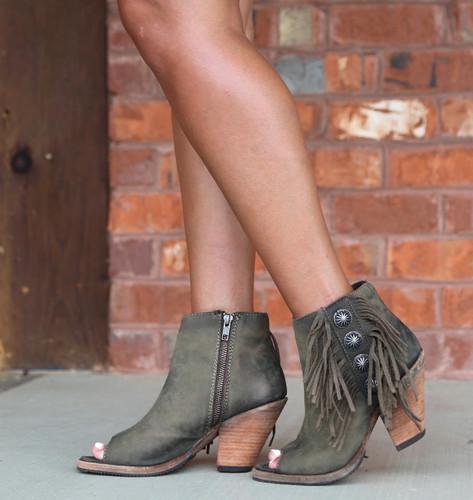 Liberty Black Military Green Concho Fringe Peep Toe Boots LB712807 Picture