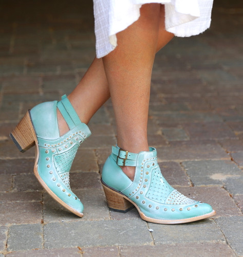 Corral Turquoise Studs and Woven Mule E1403 Picture