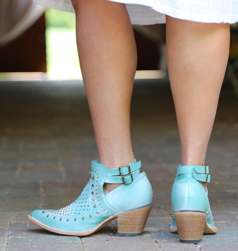 Corral Turquoise Studs and Woven Mule E1403 Heel