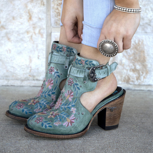 Lane Floral Halfsie Bootie Dusty Turquoise LB0413C Picture