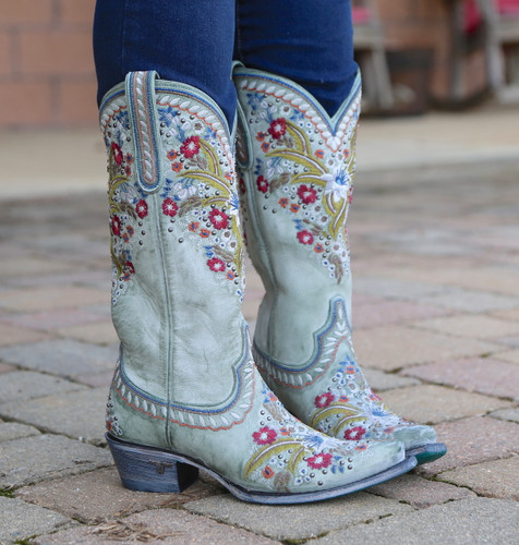 Lane Chloe Turquoise Boots LB0418C Embroidery
