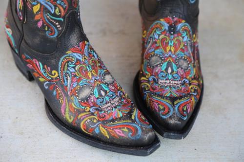 Old Gringo Dulce Calavera Rustic Beige Multi Boots BL3233-2 Toe