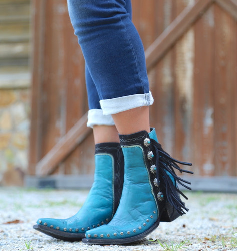 Double D by Old Gringo Apache Kid Turquoise Boots DDBL018-3 Toe