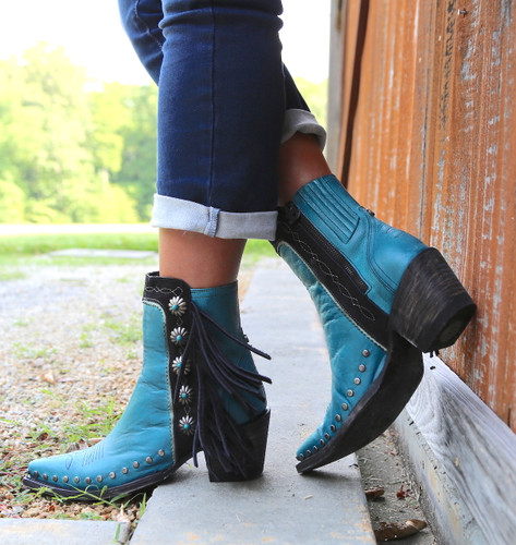 Double D by Old Gringo Apache Kid Turquoise Boots DDBL018-3 Fringe