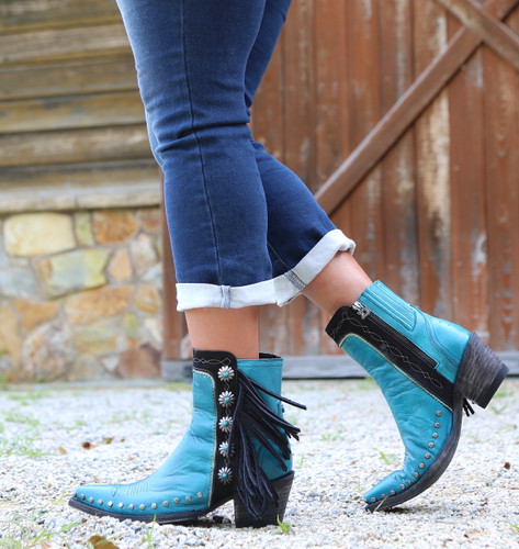 Double D by Old Gringo Apache Kid Turquoise Boots DDBL018-3 Image