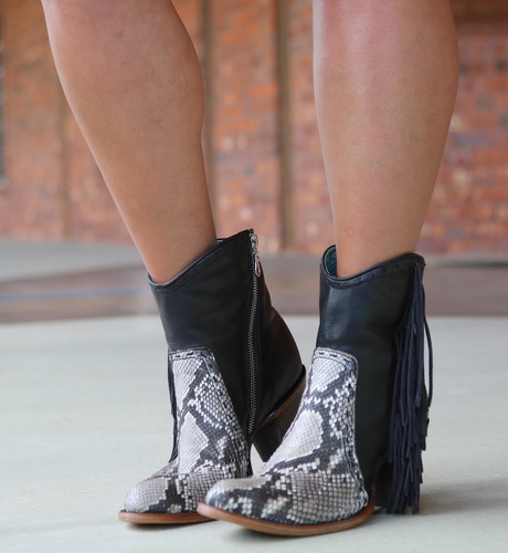 Corral Black Natural Python Fringe Ankle Boot C2909 Toe