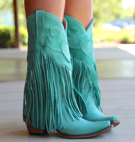 Junk Gypsy by Lane Dreamer Turquoise Boots JG0004D Fringe