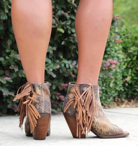 Liberty Black Python Miel Concho Fringe Peep Toe Boots LB712807 Heel