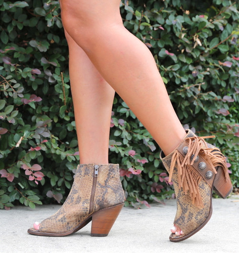 Liberty Black Python Miel Concho Fringe Peep Toe Boots LB712807 Photo