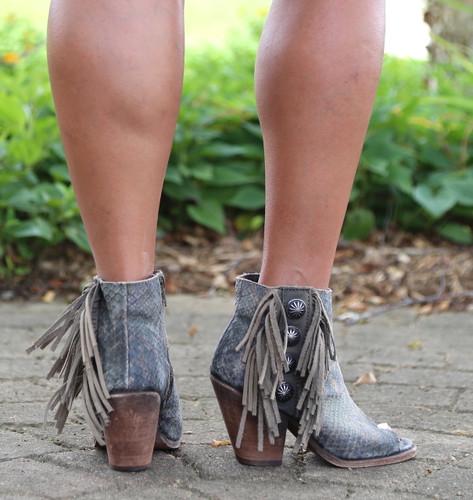 Liberty Black Python Verde Concho Fringe Peep Toe Boots LB712807 Heel