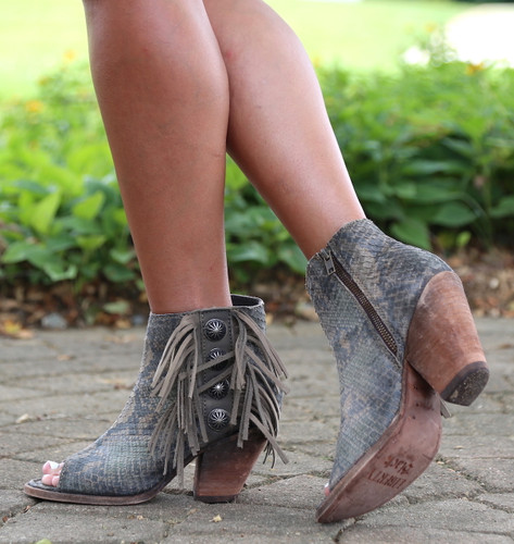 Liberty Black Python Verde Concho Fringe Peep Toe Boots LB712807 Picture