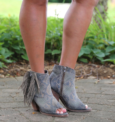 Liberty Black Python Verde Concho Fringe Peep Toe Boots LB712807 Photo