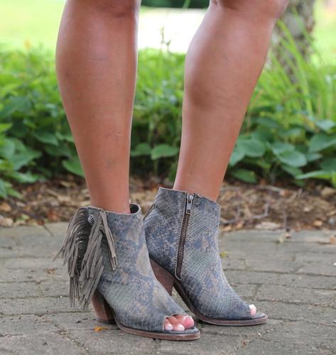 Liberty Black Python Verde Concho Fringe Peep Toe Boots LB712807 Photo