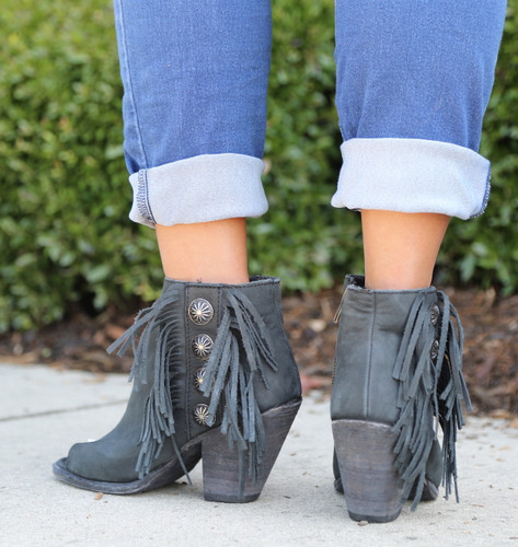 Liberty Black Negro Concho Fringe Peep Toe Boots LB712807 Heel
