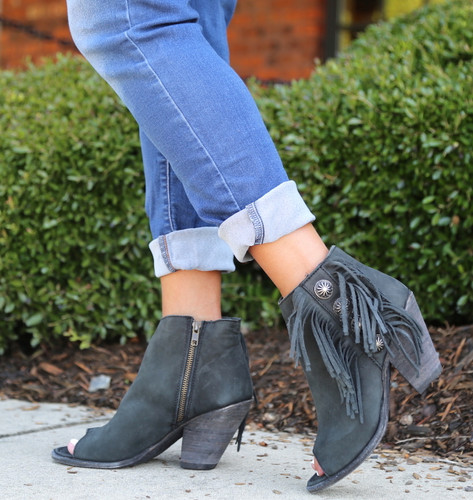 Liberty Black Negro Concho Fringe Peep Toe Boots LB712807 Image