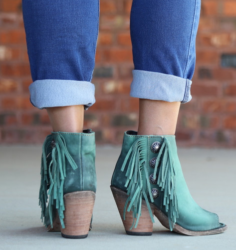 Liberty Black Vegas Turqueza Concho Fringe Peep Toe Boots LB712807 Heel