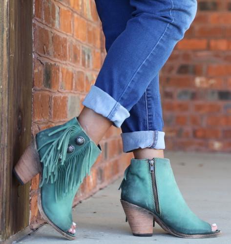 Liberty Black Vegas Turqueza Concho Fringe Peep Toe Boots LB712807 Picture