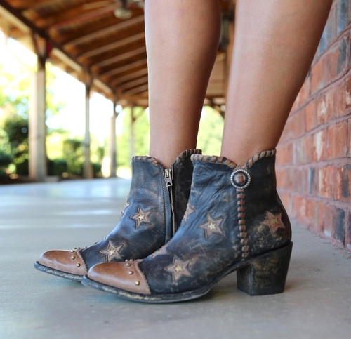 Yippee by Old Gringo Glamis Rustic Beige Black Boots YBL357-2 Stars