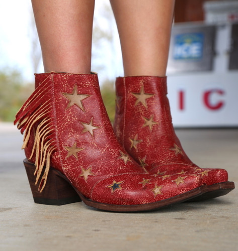 Yippee by Old Gringo Judith Crackled Red Boots YBL359-2 Stars