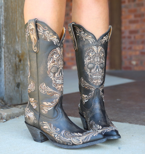 Old Gringo Dulce Calavera Rustic Beige Black Boots L3191-1 Photo