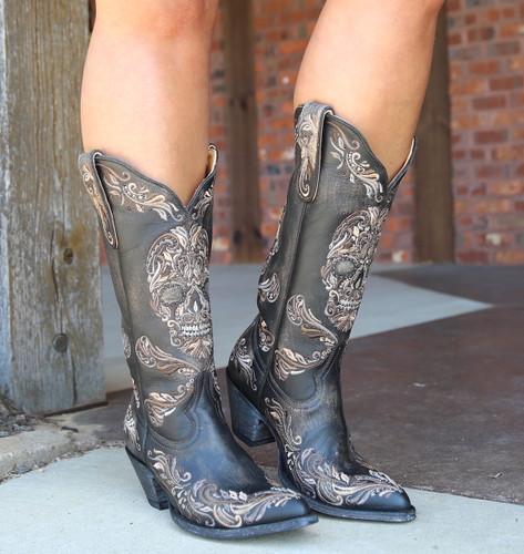 Old Gringo Dulce Calavera Rustic Beige Black Boots L3191-1 Image