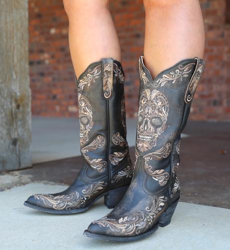 Old Gringo Dulce Calavera Rustic Beige Black Boots L3191-1 Picture