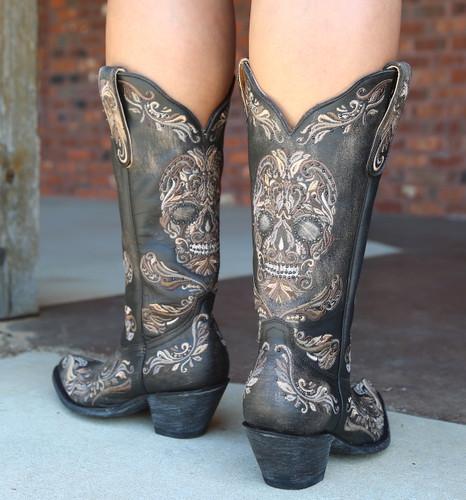 Old Gringo Dulce Calavera Rustic Beige Black Boots L3191-1 Heel