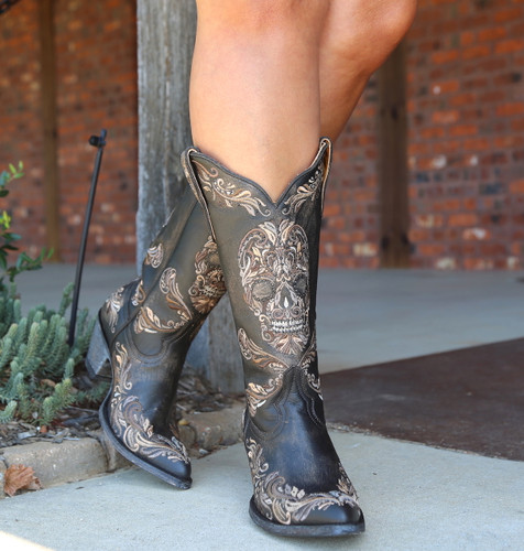 Old Gringo Dulce Calavera Rustic Beige Black Boots L3191-1 Toe