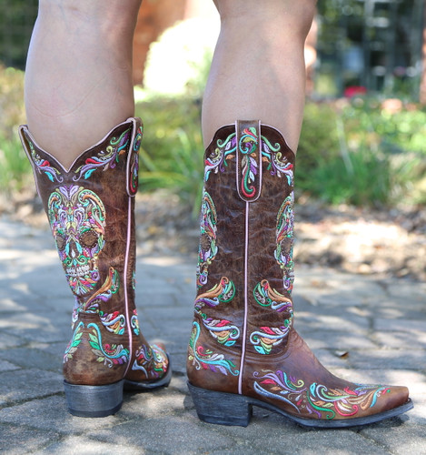 Old Gringo Dulce Calavera Brass Multi Boots L3191-2 Heel