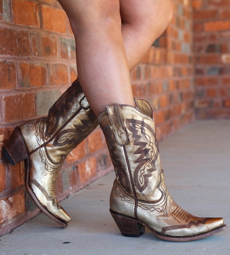 Yippee by Old Gringo Peyton Gold Boots YL347-2 Picture