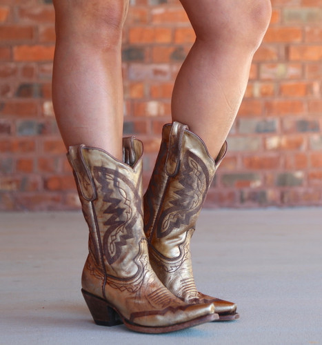 Yippee by Old Gringo Peyton Gold Boots YL347-2 Image