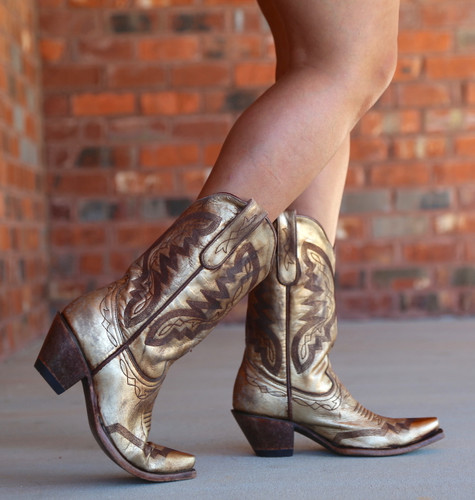 Yippee by Old Gringo Peyton Gold Boots YL347-2 Walk