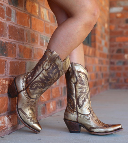 Yippee by Old Gringo Peyton Gold Boots YL347-2 Toe