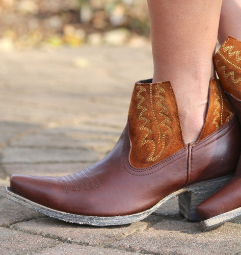 Yippee by Old Gringo Myrna Chocolate Cognac Booties YBL373-3 Detail
