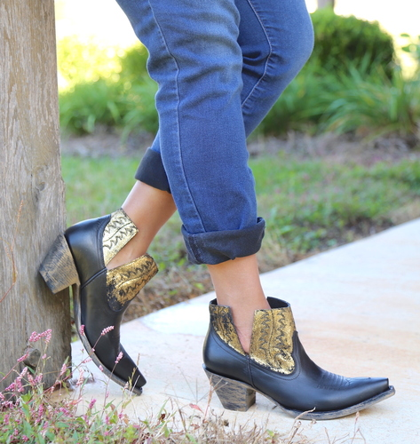 Yippee by Old Gringo Myrna Black Gold Booties YBL373-2 Picture