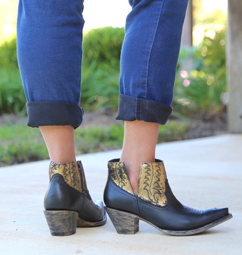 Yippee by Old Gringo Myrna Black Gold Booties YBL373-2 Heel