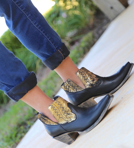 Yippee by Old Gringo Myrna Black Gold Booties YBL373-2 Image