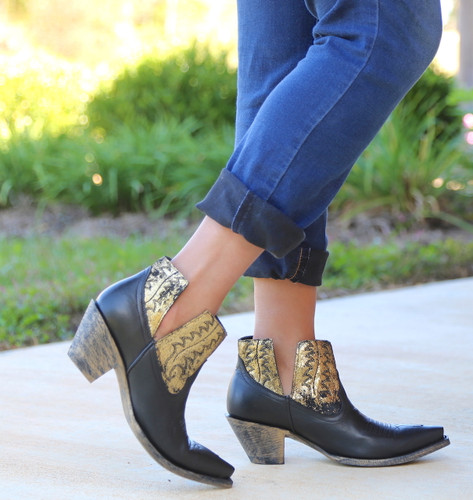Yippee by Old Gringo Myrna Black Gold Booties YBL373-2 Walk