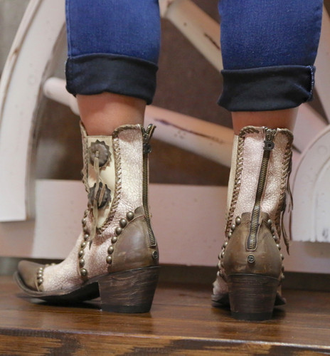 Double D by Old Gringo Stockyards Crackled White Boots DDBL047-1 Zipper