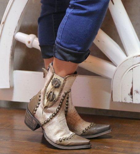 Double D by Old Gringo Stockyards Crackled White Boots DDBL047-1 Toe