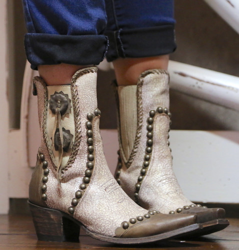 Double D by Old Gringo Stockyards Crackled White Boots DDBL047-1 Photo