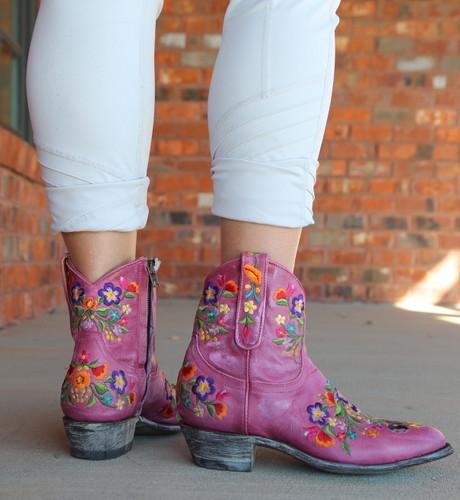 Old Gringo Sora Zipper Pink Booties L871-64 Heel