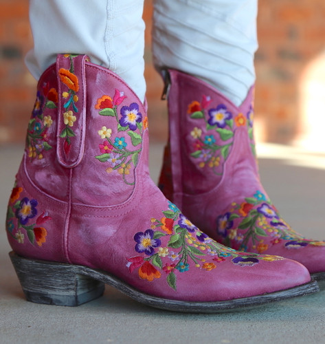 Old Gringo Sora Zipper Pink Booties L871-64 Embroidery