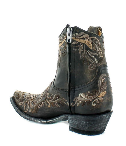 Old Gringo Dulce Calavera Rustic Beige Black Short Zipper Boots BL3233-1 Heel