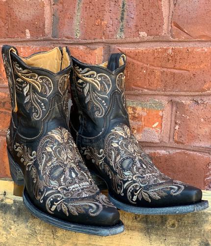 Old Gringo Dulce Calavera Rustic Beige Black Short Zipper Boots BL3233-1 Live Photo