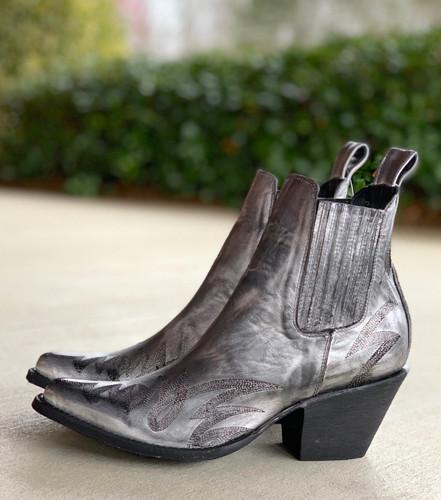 Yippee by Old Gringo Gaucho Stitch Metallic Silver Booties YBL290-1 Heel